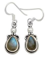 Labradorite Gemstone Earrings Solid 925 Sterling Silver Jewelry IE19588