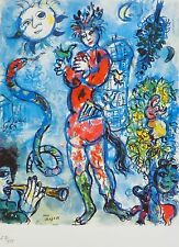 MARC CHAGALL FLUTIST 1985 SIGNED HAND NUMBERED 216/333 ETCHING SPADEM PARIS