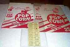 Vintage lot popcorn boxes Old drive in theatre tickets FREE SHIPPING