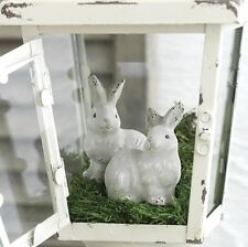 "NEW!~RAZ Imports~3"" Gray Pottery Spring Garden Bunny Rabbit Decor~Set 2~Easter"