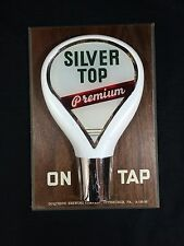"""VINTAGE SILVER TOP BEER SIGN WOOD ON TAP KNOB DUQUESNE PITTSBURGH PA 10.5"""" X 7"""""""