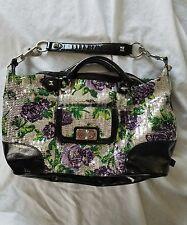 Sequin Betsey Johnson Silver Rose Tote Shoulder Bag Large