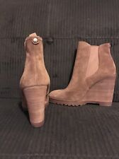 NEW Michael Kors Thea Suede Platform Wedge Ankle Brown Boots Booties s 6.5 PW15F
