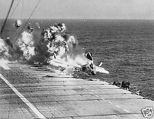 Fatal Ramp strike of a Vought F7U-3 Cutlass on Aircraft Carrier USS Hancock