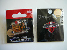 2 SF GIANTS 2012 CHAMPIONS PINS-NL WEST CHAMPIONS & WORLD SERIES CHAMPIONS PIN
