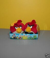 "2011 Commonwealth Angry Birds Let's Be Lovebirds 4"" Boy & Girl Red Birds Plush"