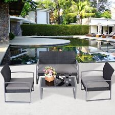 4 PCS Outdoor Patio Garden Black Rattan Wicker Sofa Set Furniture Cushioned