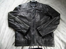 Mens All Leather Jacket Vintage Look Black Biker Style Retro - Aviatrix