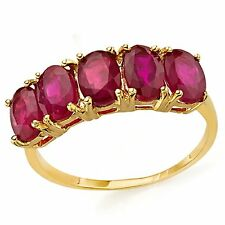 RUBY RING AFRICAN 3.40 CWT 10 K YELLOW GOLD STAMPED TRILOGY STYLE  JULY BIRTH