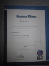 Personalized PADI Rescue Scuba Diver Certificate (Great Gift!)