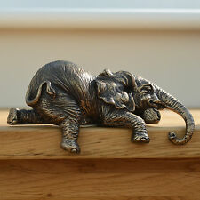 Bronze Elephant Shelf Sitter Ornament Sculpture Figurine Decorative L12cm 31049
