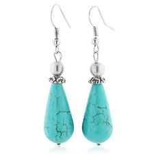 Women's Trendy Turquoise 2-inch Elegant Fish Hook Dangling Teardrop Earrings