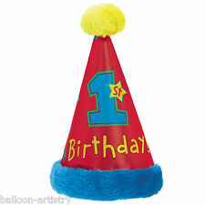 Deluxe All Aboard Blue Boy's Red Happy 1st Birthday Party Furry Cone Hat
