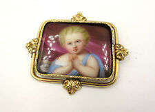 RARE ANTIQUE VICTORIAN SWISS 14K HAND PAINTED PORCELAIN CAMEO BROOCH PIN