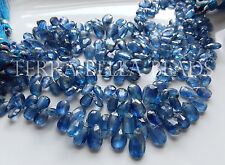 "7"" strand BLUE KYANITE faceted gem stone pear briolette beads 6mm - 10mm"