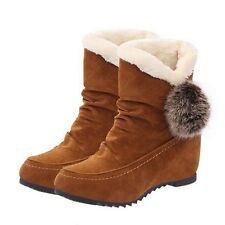 US8 Women's Winter Warm Comfortable Snow Boots Wool Flat Wedge Short Plush Shoes
