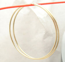 """2mm X 70mm 2 3/4"""" Large Plain Shiny Endless Hoop Earrings REAL 14K Yellow Gold"""