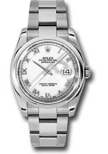 Rolex Datejust 36mm Smooth Stainless Steel Watch White Roman Dial Oyster 116200