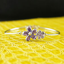 14k white Gold plated Swarovski crystals purple flower bangle bracelet