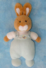 Carters Plush Tan Bunny Rabbit Baby Toy Blue Thermal knit Overalls 11""