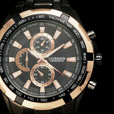 CURREN Classic Men's Black Stainless Steel Luxury Round Dial Quartz Wrist Watch