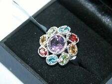LOT 312 STUNNING LARGE MULTI GEMSTONE SOLID STERLING SILVER RING - SIZE N 1/2