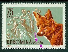 1961 Red Fox,Rotfuchs,Renard roux,Archer,Romania,Mi.1986,ERROR/2,MNH,rare!!