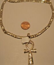 Necklace Pendant Egyptian Style Ankh Cross Long Figaro Chain Statement NWT L691