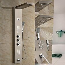 NEW Brushed Nickel Thermostatic Bathroom Shower Column Tub Faucet W/ Hand Shower
