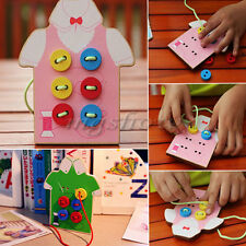 Kids Educational Wooden Toy Fun Sewing Threading Button Beads Lacing Board Gift
