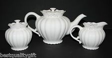 3 PC SET GRACE'S TEA WARE VICTORIAN LACE  WHITE TEA+COFFEE POT,CREAMER,SUGAR