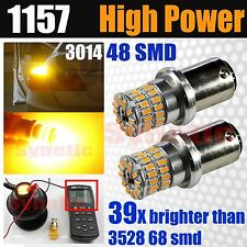 2x 1157 2057 High Power 3014 Chip 600LM Amber Yellow Turn Signal LED Light Bulbs