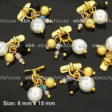 5 Pcs 3D Nail Art Gold Pearl Alloy Charms Decorations Jewelry Rhinestone #EH-235