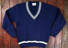 VTG 60s CHARLES WOLF BLUE NORWEGIAN WOOL V-NECK PREPPY SWEATER JUMPER MEDIUM
