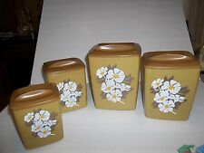 FABULOUS RETRO-ERA LUSTRO WARE CANISTER SET 4 PLASTIC KITCHEN COLLECTIBLES