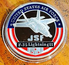 United States Air Force Challenge Coin F 35 Lightning Finished In Silver .999