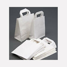 100 White Paper Carrier Takeaway Bags Medium 10.5x9x4.5