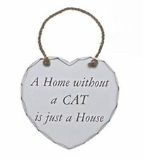 Shabby Chic Home Without A CAT Is Just A House Heart Wooden Door Plaque Sign