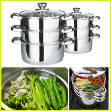22cm 3pc Vegetable Steamer Set Glass Lid Stainless Steel Casserole Aluminium Veg