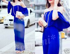 ZARA SIZE S BLUE OFF-THE-SHOULDER JUMPSUIT SCHULTERFREIER OVERALL 2784/840
