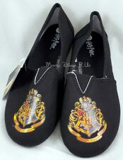 Harry Potter Hogwarts Crest Slip-On Womens Shoes Canvas Flats Size L NEW