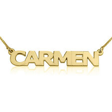 24k Gold Plated Block Capital Letters Nameplate Personalized Name Necklace