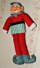 "VINTAGE LARGE 12"" CHRISTMAS OLD BEARDED FELT ELF PLUSH DOLL WITH BELLS 13"""