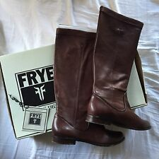 Frye Womens US 7 Cindy Slouch Dark Brown Soft NAPA Leather Pull-on Boot Riding