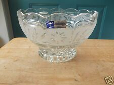 Hand Cut 24% Lead Crystal Bowl Made in Yugoslavia Clear and Frosted Glass