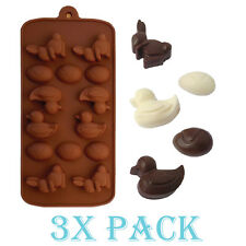 3 Pack Silicone Easter Rabbit Egg Duck Mold candy Ice cube Tray Chocolate DIY