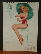 Jerry Thompson June 1955 Calendar Page Blond Waiting for a Swim Suitor