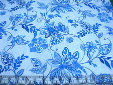 3 Yards Quilt Cotton Fabric - ITB Brianna Blue and White China Floral Toss White