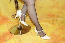 Brautschuh Echtleder-Spangenpumps perlmuttfarben mit Swarovski Elements Gr. 41