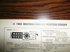 1969 Mercury & Cougar; Ford Fairlane & Mustang EIGHT 351 V8 4BBLTune Up Chart